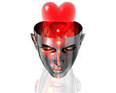 3D heart in 3D cyborg girl head