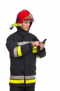 fireman with cell-482463357