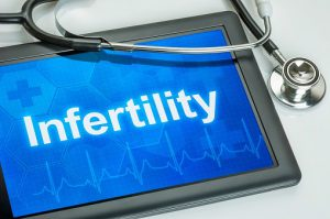 Tablet with the diagnosis Infertility on the display
