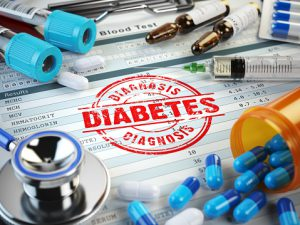 Diabetes diagnosis. Stamp, stethoscope, syringe, blood test and