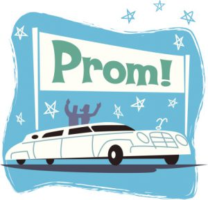 Prom limousine and banner