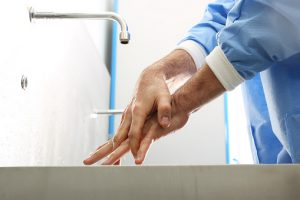 Surgical hand disinfection.