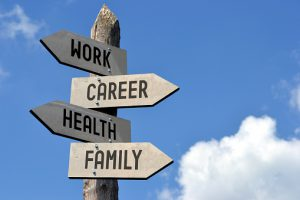 Work, career, health, family signpost