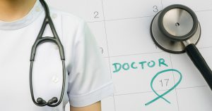 Note of doctor appointment on calendar